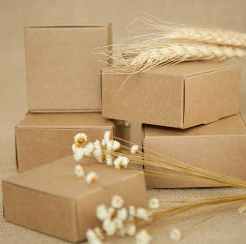 5PCS Small Kraft Paper Box,brown Cardboard Handmade Soap Box,white Craft Paper Gift Box,black Packaging Jewelry Box 5Sizes