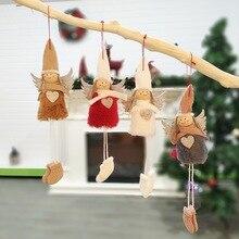 Плюшевый ангел с блестящим сердцем, Рождественская подвесная игрушка, детский праздничный подарок, рождественские кукольные аксессуары, настенные плюшевые