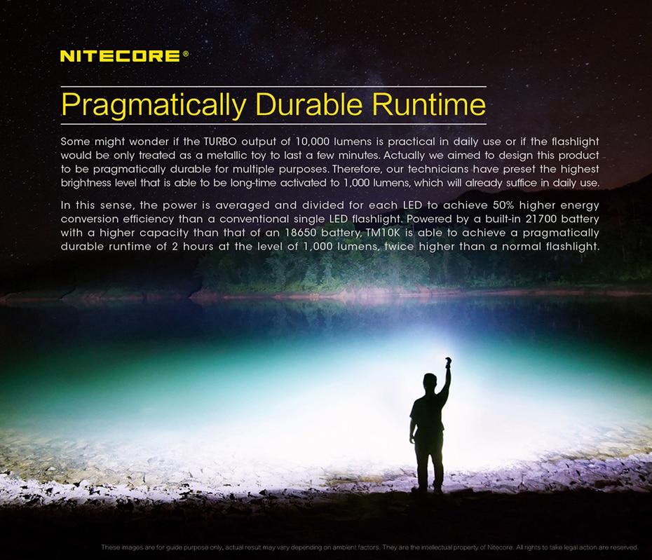 Nitecore-lanterna de 6 metros tm10k, bateria de