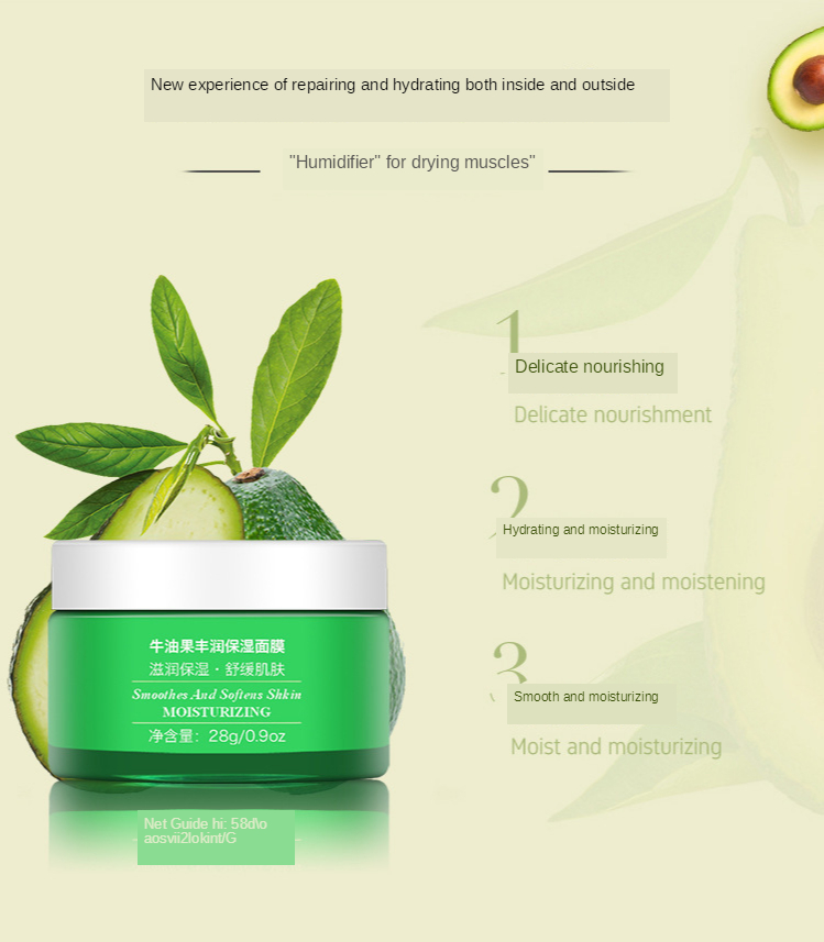 Facial Skin Care Kit Avocado Moisturizing Hydrating Cream