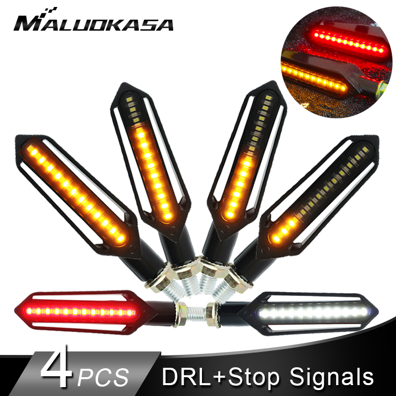 Motorcycle Turn Signals Tail Light LED Flowing Water Flashing Blinker Brake/Running Light DRL Flasher Tail Lamp For Honda
