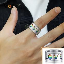 Vnox Chunky 11mm Spinner mężczyźni pierścień emalia Rainbow linie obrączka obrotowy Hollow stal nierdzewna miłość LGBTQ biżuteria