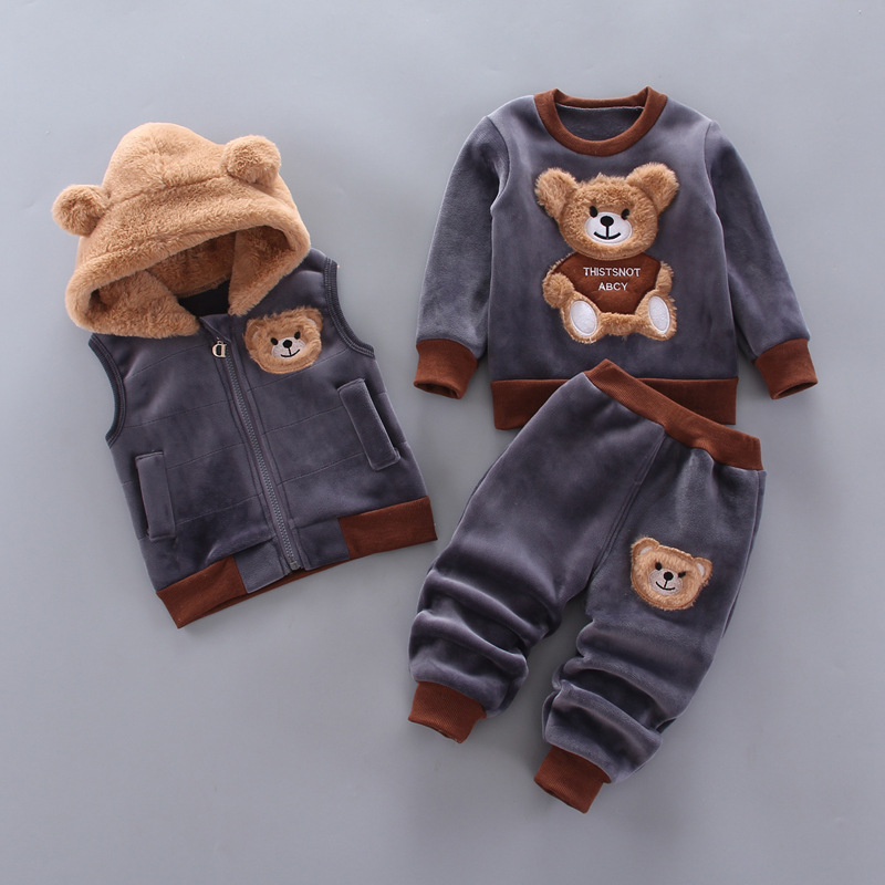 Baby Boys And Girls Clothing Set Tricken Fleece Children Hooded Outerwear Tops Pants 3PCS Outfits Kids Toddler Warm Costume Suit 1