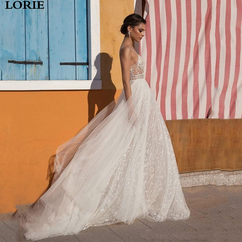 LORIE Lace Wedding Dress Spaghetti Straps Bride Dress Vestidos De Novia Side Split Lace Sexy Boho Bride Wedding Gowns