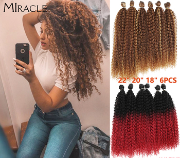 Afro Kinky Curly Hair Weave Bundles With Closure Synthetic Extensions Extension Miracle