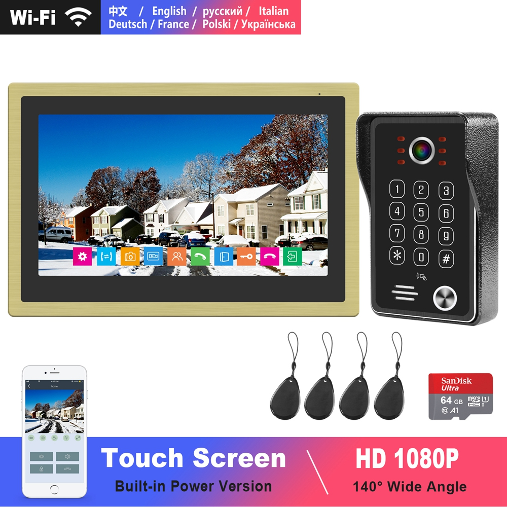 Diagonsview  Video Intercom WIFI Doorbell 10 Inch Touch Screen Built-in Power 1080P Keypad Call Panel  Video Door Phone For Home