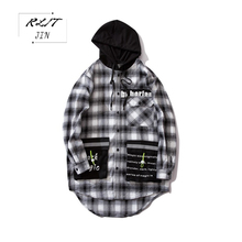 RLJT.JIN 2019 High quality faux mens hooded shirts with large pockets Fall hip hop casual print cotton comfortable