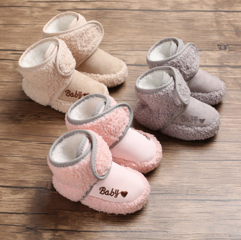 Baby Booties Boy Girl Shoes Winter Fluff Fur Warm Snow Shoes Cotton Sole Soft Newborns Infant Toddler First Walkers Crib Shoes