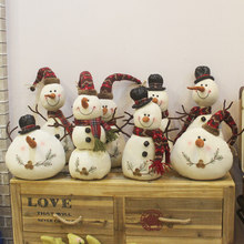 Christmas decoration plush doll white snowman doll with hood scarf small fat snowman shopping mall window decoration(China)