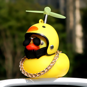 Image 2 - Cute Little Yellow Duck With Helmet Propeller Rubber Windbreaker Duck Squeeze Sound Internal Car Decoration Child Kid Toy