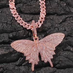 Image 2 - Uwin Monarch Butterfly różowy Rosegold CZ wisiorek z 9mm 12mm CZ kubański łańcuch Micro Pave Cubic naszyjnik cyrkoniowy biżuteria na prezent