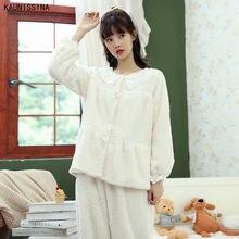 Женские пижамы с длинным рукавом топы комплект из двух предметов