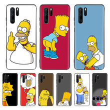 Funny Homer J. Simpson Black Cover Phone Case For Huawei Mate 30 20 10 P30 P20 P10 Pro Lite P Smart Z 2019 Luxury Coque Shell(China)