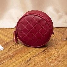 Women Mini Round Bags Solid Color Plaid Shoulder Handbags Women Small Round Tass