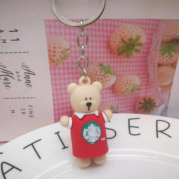 LLavero de oso de dibujos animados creativo oso lindo oso Animal colgante llavero Linda niña Oso de PVC muñeca llavero para bolso de coche llavero regalos