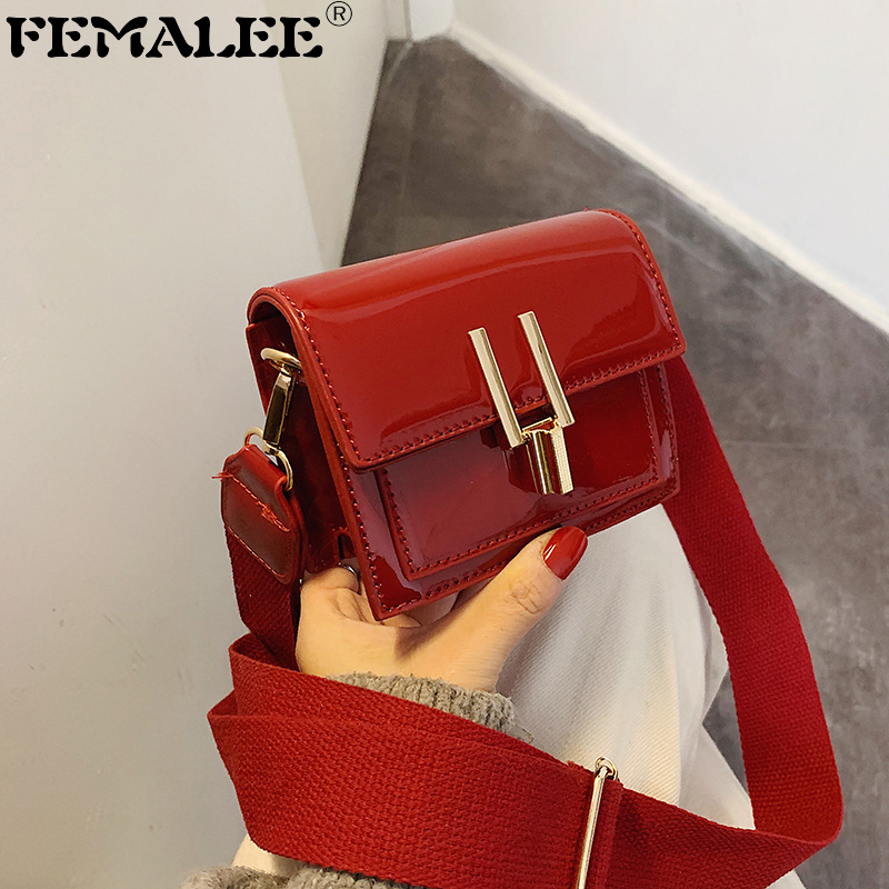 Ladies Bag Fashion Mini Messenger Bag Patent Leather Wide Shoulder Strap Bags Pure Color PU Handbags Lipstick Key Crossbody Bag