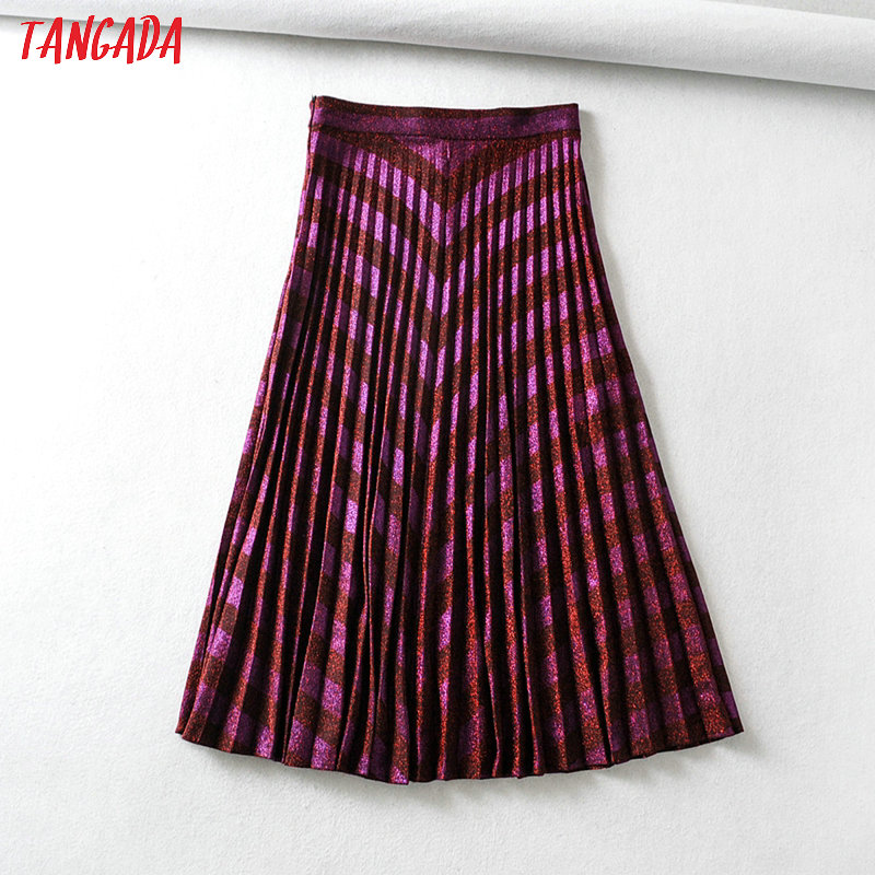 Tangada Women Red Golden Yarn Pleated Midi Skirt 2020 Spring Fashion Side Zipper Ladies Elegant Chic Mid Calf Skirts 6A100