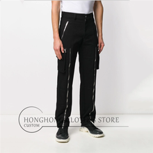 [27-44! ] spring and autumn tide men's fashion casual pants zipper decorative straight pants baggy overalls