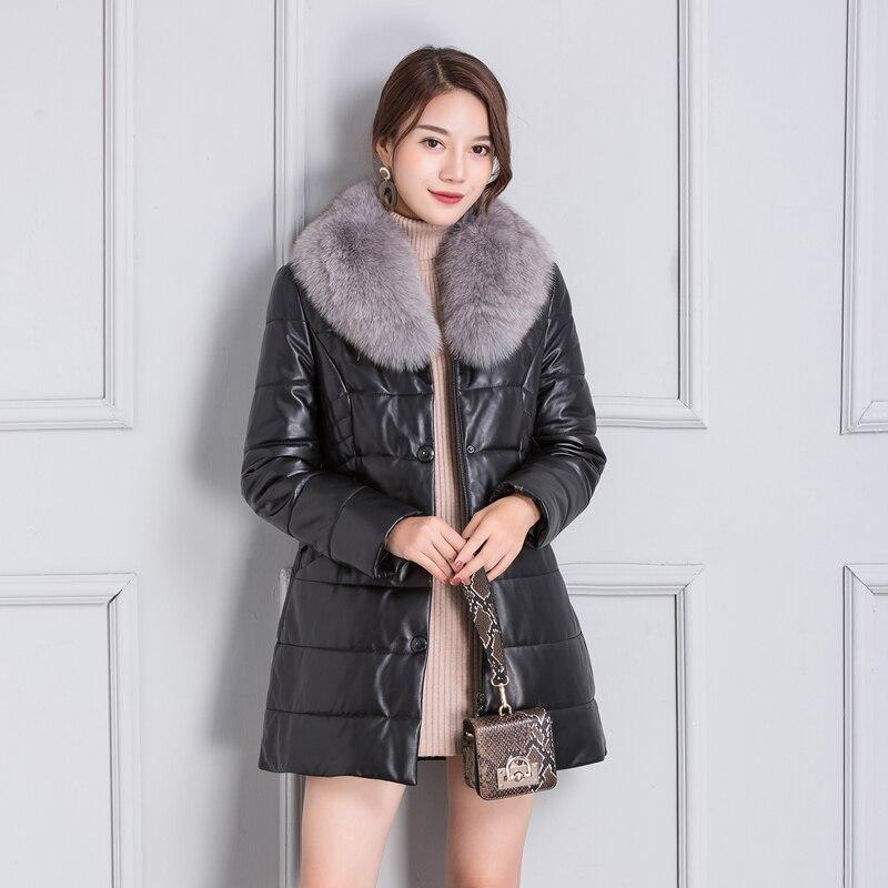 100% Real Fox Fur Hooded Sheepskin Coat Female Winter Warm Duck Down Jacket Women Korean Genuine Leather Down Coats 23