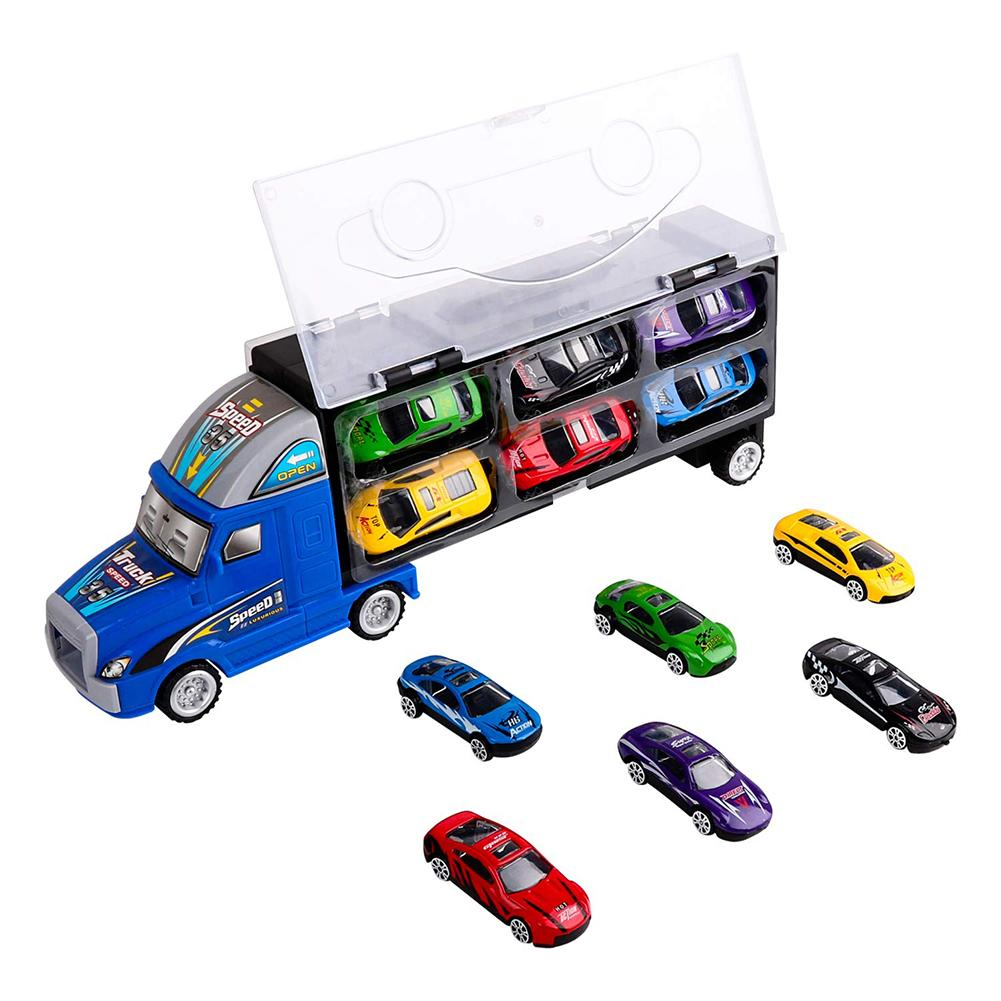 13Pcs Boys Mini Carrier Lorry Truck Car Transporter Model Kids Educational Toy Model Car Toy Children Birthday Gift New