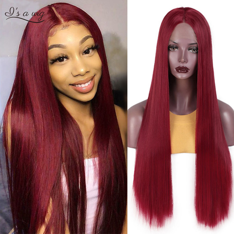 I's A Wig Purple Long Straight Lace Wigs For Women Red Black Synthetic Lace Front Wigs High Temperature Fiber Hair