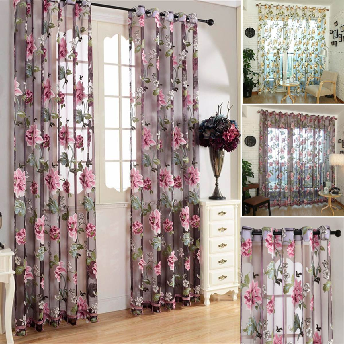 1 Panel Window Sheer Curtain 100x200cm Floral Pattern Window Curtains Valance Home Living Room Bedroom Decoration 2 Colors