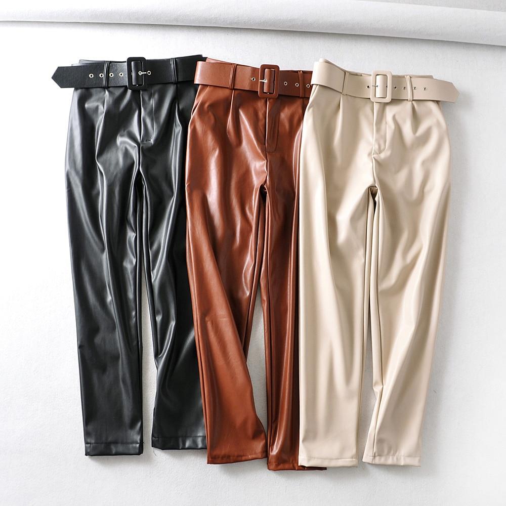 PU Leather Black Suit Pants Woman High Waist Pants Sashes Pockets Office Ladies Pants Fashion Middle Aged Beige Pants