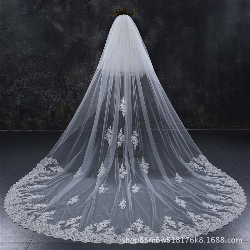 Special Offer New Style Car Bone Flower Bride Veil Long Widened 3 M Large Tailing + Hair Comb White Veil