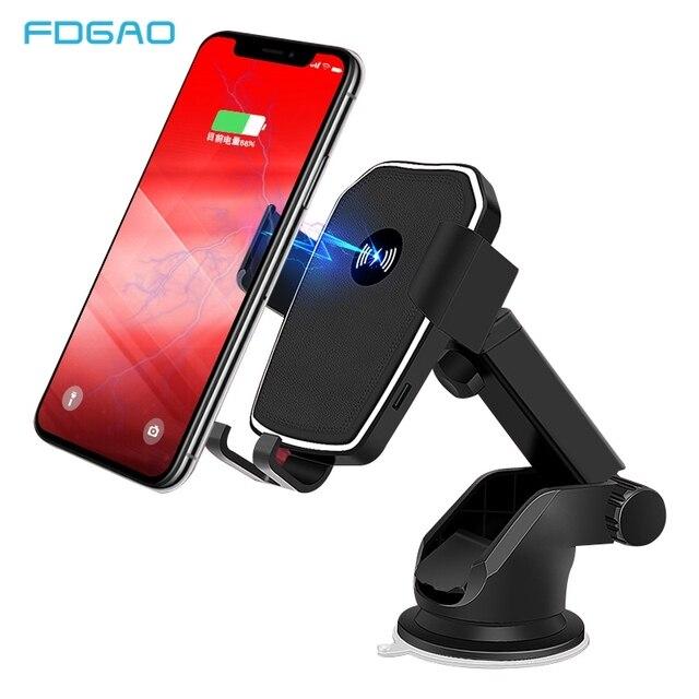 FDGAO Qi Caricabatteria Da Auto Senza Fili per il iphone 8 X XR XS Max 11 Pro Samsung S10 S9 S8 Nota 10 9 8 10W Veloce di Ricarica Supporto Del Supporto Del Telefono
