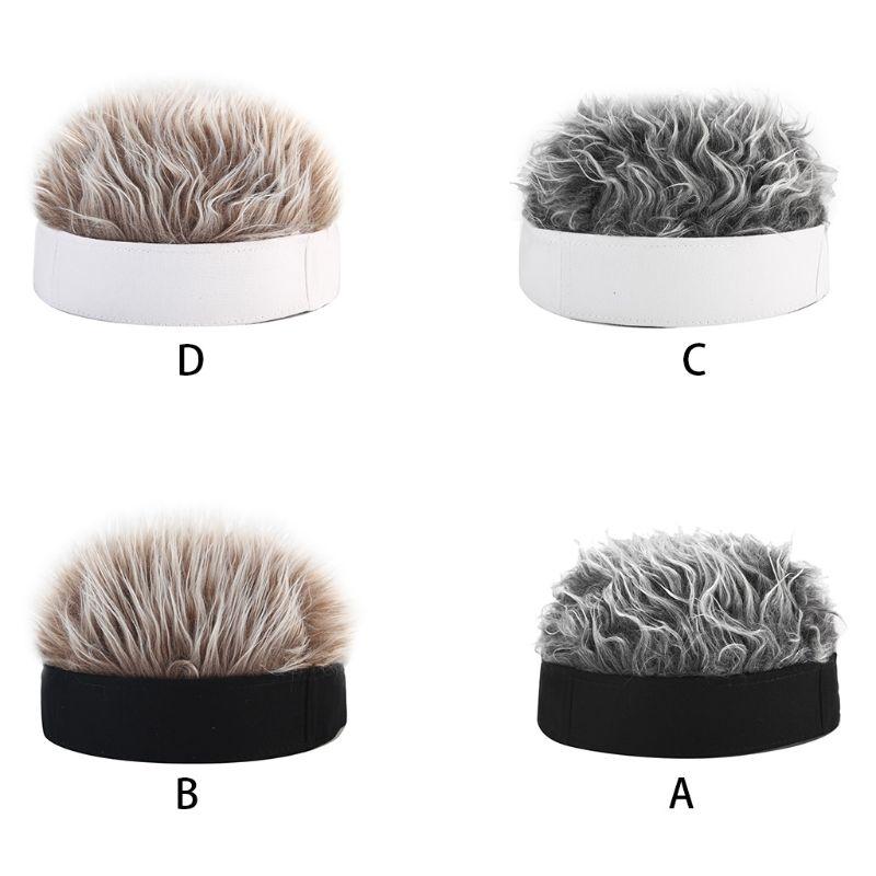 Men Women Novelty Hip Hop Beanie Hat With Spiked Fake Hair Funny Retro Short Melon Wig Skull Landlord Cap Adjustable Streetwear