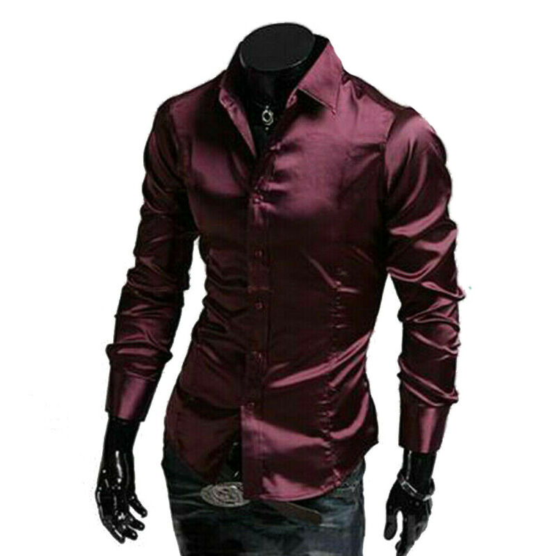 Luxury Men's Stylish Casual Dress Shirt Slim Fit Long Sleeve Formal Shirt Tops