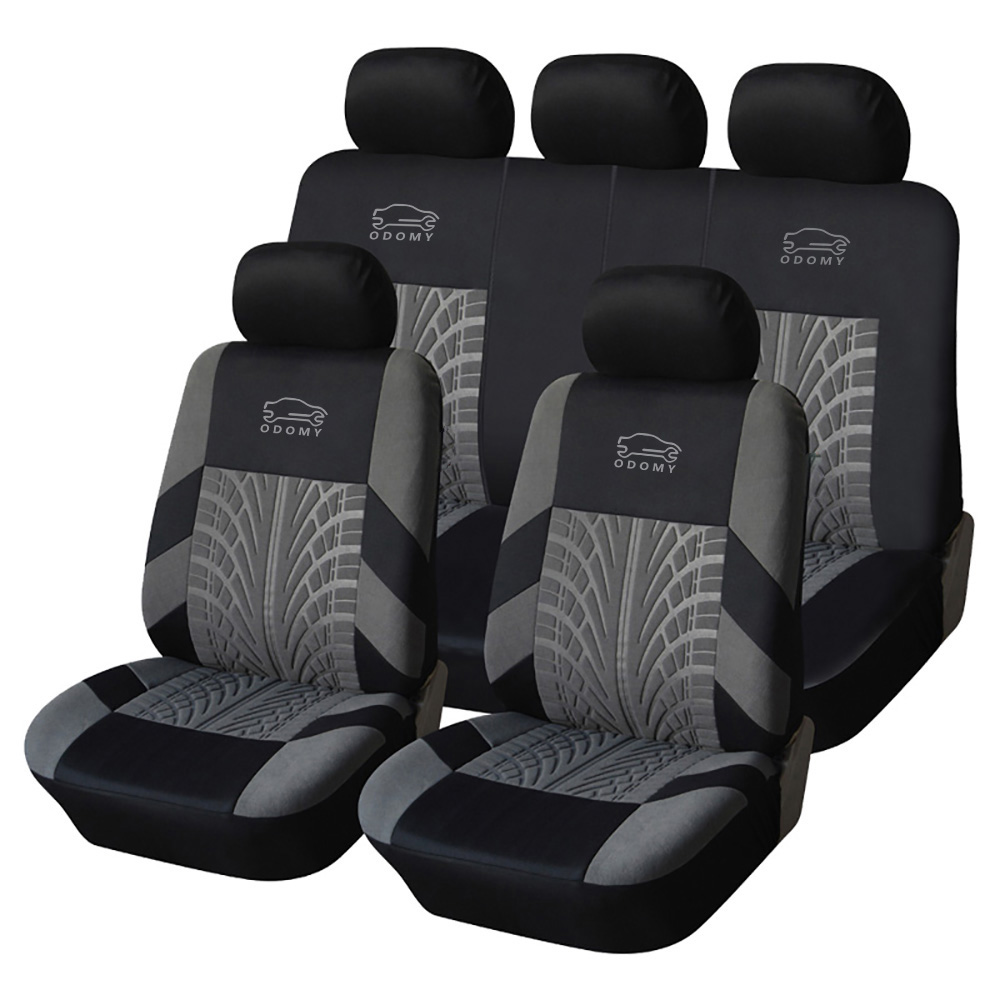 ODOMY Car Seat Covers Universal Luxury Auto Dustproof Protector Seat Case Set Track Detail Style for Vehicle Cover Dustproof
