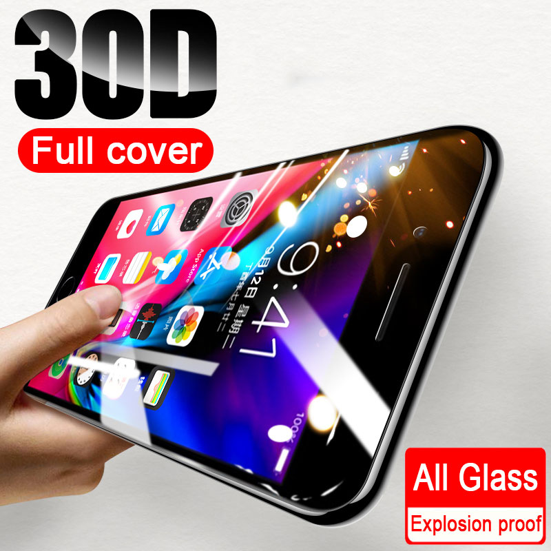 30D Full Cover Tempered Glass For iPhone 7 6 8 Plus X XR XS Max Screen Protector Protective Glass On iPhone 11 12 Pro Max Glass 1