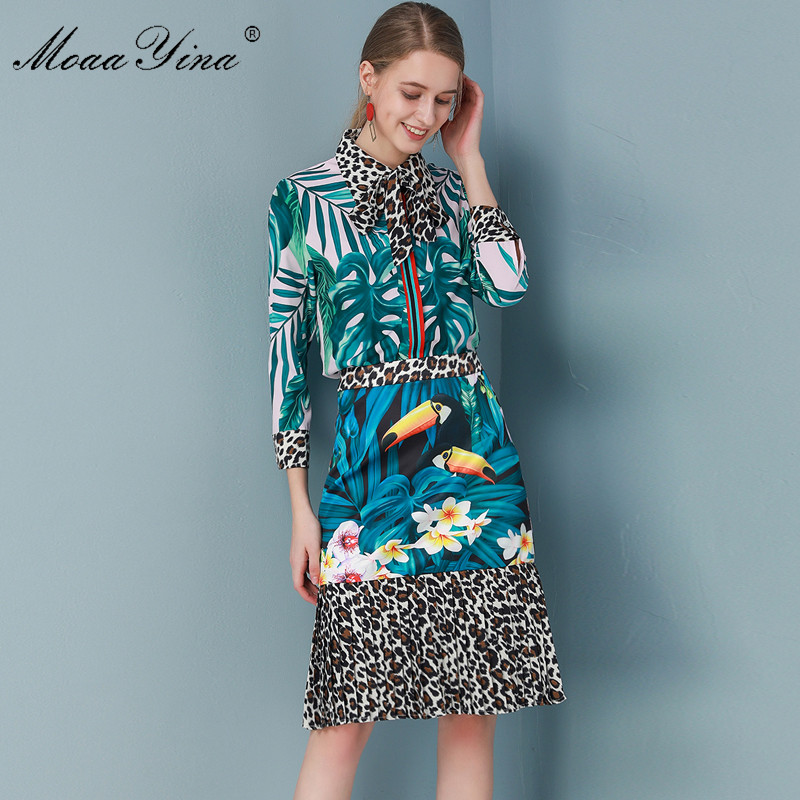 MoaaYina Fashion Designer Set Spring Summer Women Long Sleeve Green Leaf Print Shirt Tops+Pleated Skirt Vacation Two-piece Set