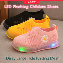 Kids Sneakers Shoes Footwear Knitting Toddler Baby Little-Girl Children Boy NYCOOL Light-Up