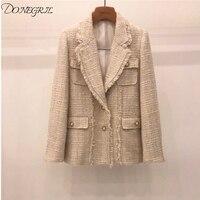 Turn down Collar Plaid Long Sleeve Slim Apricot Tweed Winter Coat Women Korea Loose Trend Coats women 2019 autumn new