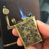 Retro Flower Carved Antique Style Crafted Flint Wheel Butane Gas Fuel Refillable Cigarette Lighter Windproof Charging Lighter