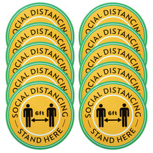 Saim 10pcs Social Distancing Floor Decal Sticker 6 Feet Stop Here Sign Safety Distance Floor Decal Poster Sign Logo Stickers university of oklahoma sooners stop sign ncaa