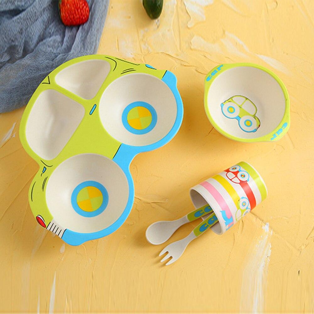 Baby Tableware Bamboo Dishes Fork Spoon Cup 5Pcs/Set Children Feeding Bowl Fiber Kids Cartoon Car Separation Feeding Plate