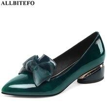 ALLBITEFO motylkowy węzeł prawdziwej skóry nowe modne szpilki dorywczo dziewczyna wysokie buty na grubym obcasie gorąca sprzedaż kobiet platformy buty