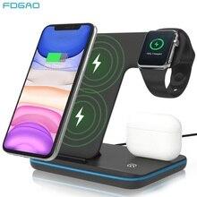 FDGAO 3 W 1 15W szybka bezprzewodowa ładowarka Qi dla Iphone 12 11 X XS XR 8 ładowarka stacja dokująca dla Airpods Pro Apple Watch SE 6 5 4 3 2