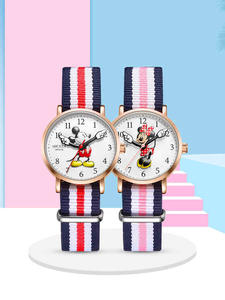 Disney Watches Clock Leather-Band Mickey Minnie Kids Childhood-Dream Student-Time Girl