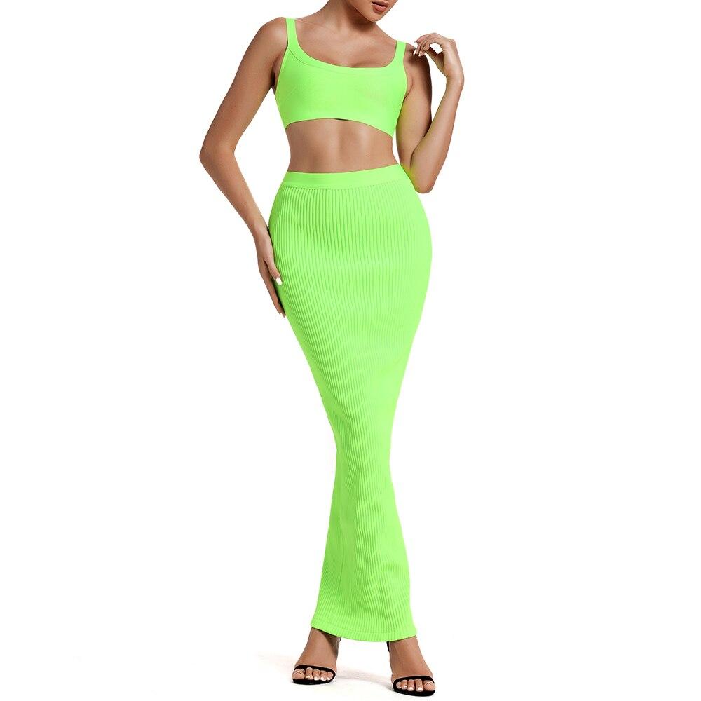 Ocstrade 夏包帯 2 個セット 2019 新到着の女性のネオン緑包帯ドレスボディ包帯ドレスパーティー  グループ上の レディース衣服 からの ドレス の中 2