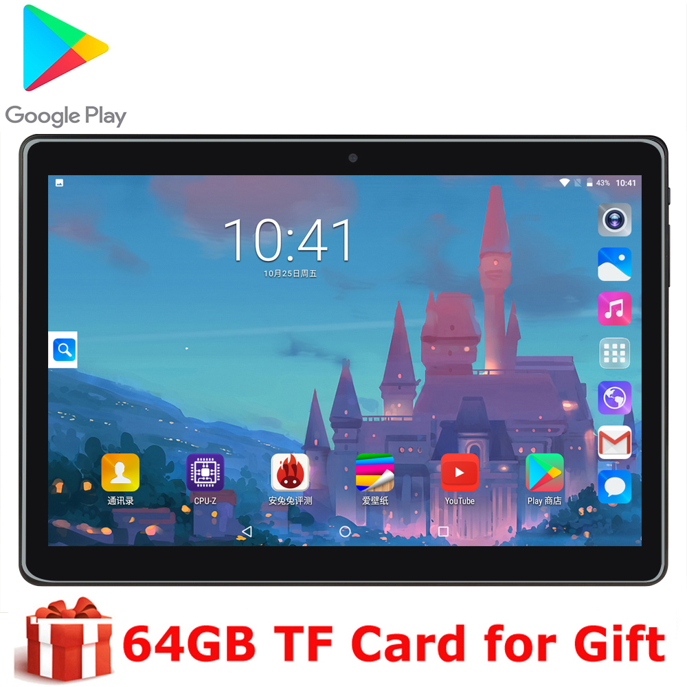 Android 9.0 MTK6580 Quad Core 10 Inch Tablet PC 1280x800 IPS 4 Core 5.0MP Phone Call Dual SIM WIFI CE GPS 2.5D Tempered Glass