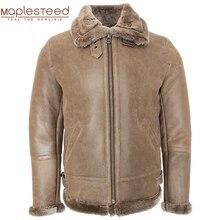 Süper kalite klasik gri kahverengi Shearling ceket erkekler kalın koyun kürk ceket kış erkek deri ceket sıcak kış giyim M444
