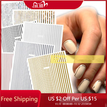 Pegatinas adhesivas para uñas, 1 unidad, oro rosa, plata, calcomanía 3D para uñas, líneas curvas, calcomanías