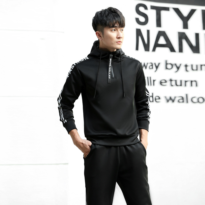 Spring And Autumn Health Cloth Leisure Sports Suit Men's Korean-style Long Sleeve Hoodie Two-Piece Set Men'S Wear