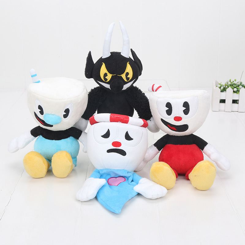 Hot Game Cuphead Plush Toy Mugman The Devil Legendary Chalice King Dice Plush Stuffed Toys Doll Cuphead Keyrings Pendant 15-28cm