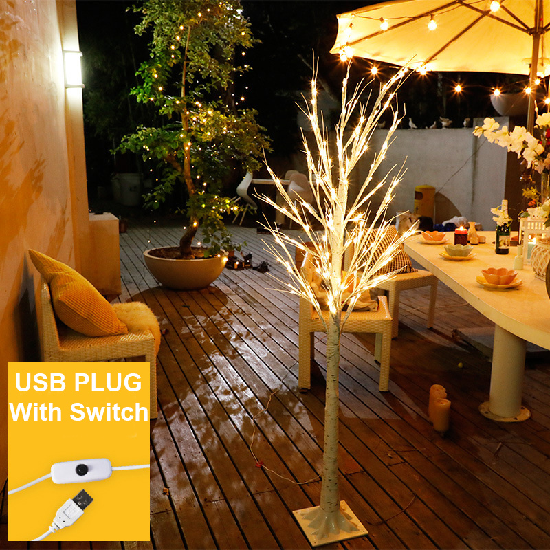 LED Birch Tree Light Christmas 60LEDs USB Operated With On/Off Switch LED Tree Light Decor For Home Party Wedding Holiday D40