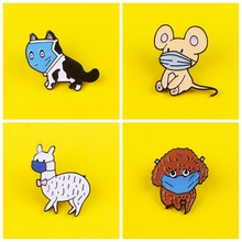 Masked Animals Series Set Metal Badges On Clothes Dog Bunny Alpaca Enamel Pins Anime Icons On The Backpack Brooch Jewelry Gifts